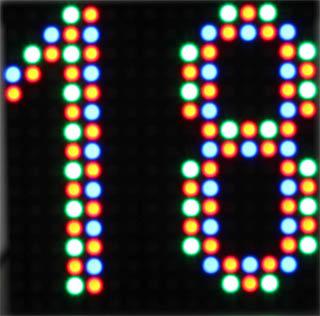 wyświetlacz numerów 16x16 RGB 20x20cm